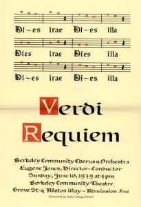 Poster for 1979 performance of Verdi's Requiem