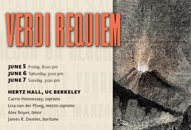 BCCO will perform Verdi's Requiem on June 4, 5, and 6, at Hertz Hall in Berkeley