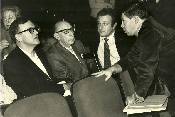 Joseph Liebling (right) with (l - r) Vera Stravinsky, Robert Craft, Igor Stravinsky, and Gerhard Samuel.