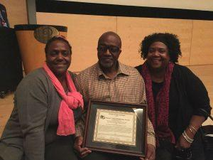 The award was accepted by Eugene Jones's son, Gregory. He is pictured here with his sister, Miriam Jones and his cousin, Jacquelyn Rice-Richardson.