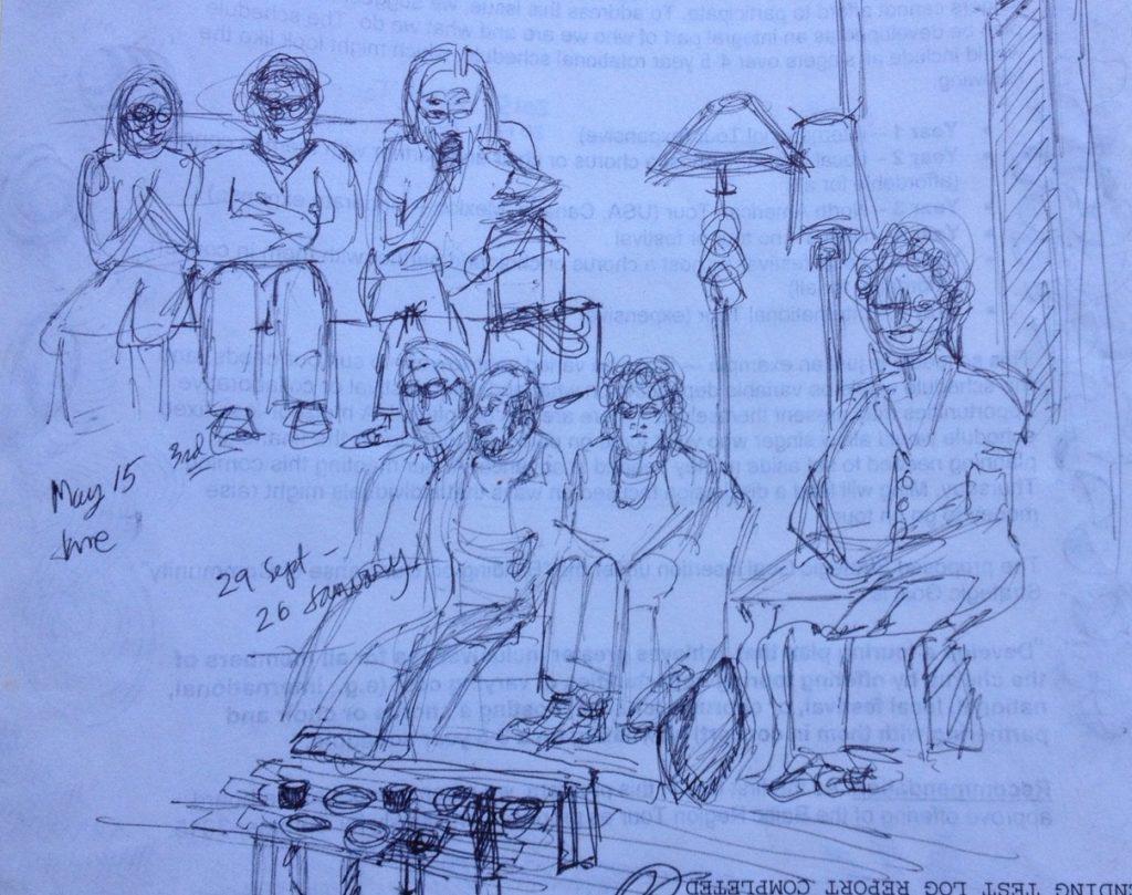 Sketch of BCCO Board meetings by Pam Miller, tenor