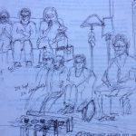 Sketch of BCCO Board meetings by Pam Miller, tenor