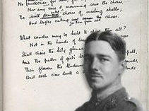 Photo of Wilfred Owen imposed over a handwritten poem