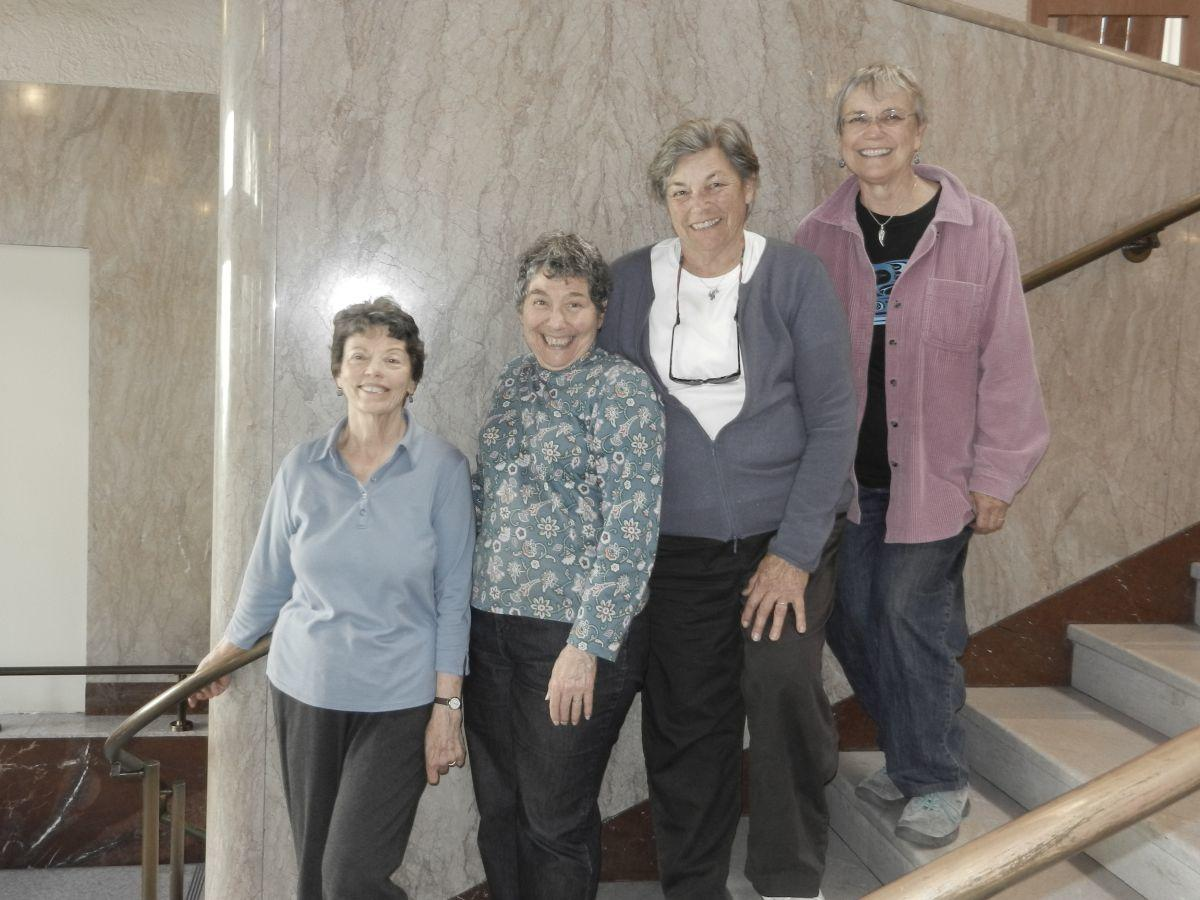 Archives Committee members Patti Powers-Risius, Helene Lecar, Joanna Davenport, Kathy Barrows