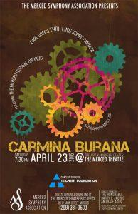 Poster for Carmina Burana performance by Merced Symphony Orchestra and Festival Chorus