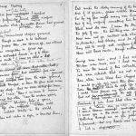 Handwritten manuscript of Wilfred Owen's Strange Meeting.