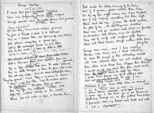 Handwritten manuscript of Wilfred Owen's Strange Meeting.