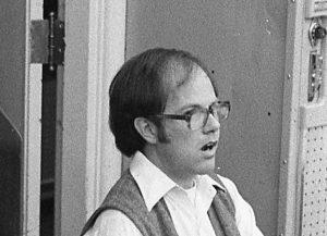 Young Bill Beahrs sings at BCCO rehearsal in 1980. Photo by Dewey Livingston