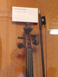 Scroll of Dvorak's violin, Dvorak Museum, Prague. Photo by Nancy Sue Brink