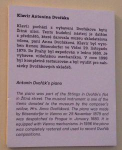 Description of Dvorak's piano. Photo by Nancy Sue Brink