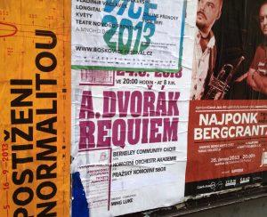 Poster for BCCO concert of Dvorak Requiem, Prague. Photo by Nancy Sue Brink