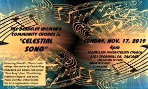 Poster for Berkeley Women's Community Chorus fall, 2019 concert