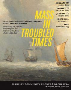 Poster for BCCO performance of Haydn and Mozart masses. Art by Kris Kargo